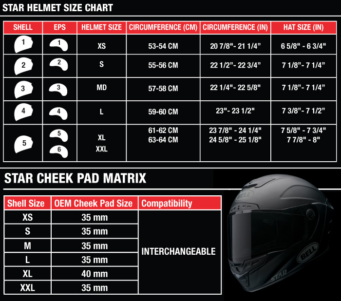 Bell Star Helmet 2016 Model Size Chart