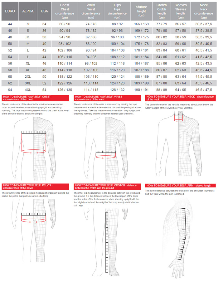 Dainese men s size chart