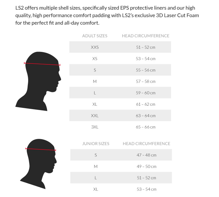 ls2 helmet size chart: Ls2 rebellion solid motorcycle half helmet sportbike track gear