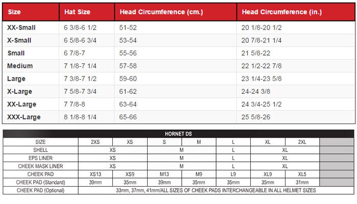 Shoei Hornet Ds Helmet Size Chart