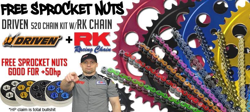 Free Driven Sprocket Nuts w/520 Driven Kits